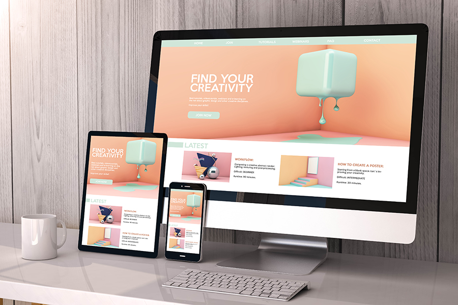 devices responsive on workspace creativity website graphic desig